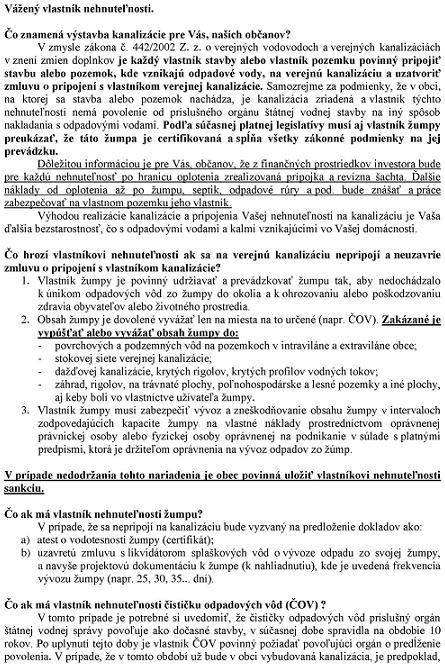 Informácie -výstavba kanalizácie1